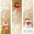Stock Vector: Christmas vintage vertical banners.