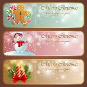Kerstmis vintage horizontale banners. — Stockvector