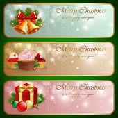 Christmas vintage horizontal banner. — Stock Vector