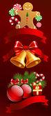 Oggetti di Natale con nastri. — Vettoriale Stock