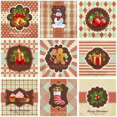 Set van kerstmis vintage achtergronden. — Stockvector