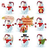 Collectie van sneeuwpop. — Stockvector