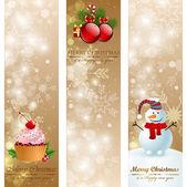 Kerstmis vintage verticale banners. — Stockvector