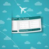 Flygbiljett på himmel bakgrund. — Stockvektor
