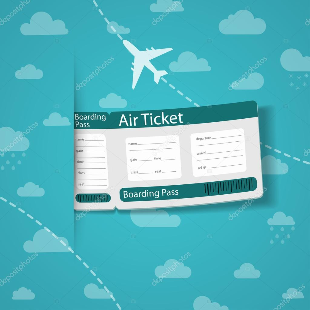 Airplane Ticket Air ticket on sky background.