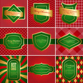Set of christmas vintage backgrounds. — Vector de stock