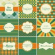 Stock Vector: Set of christmas vintage backgrounds.