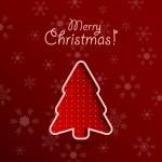 Wesołych Świąt czerwone tło z jodły — Wektor stockowy