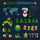 Christmas set elements of infographics. World Map and Information graphics. — Stock Vector