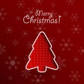 Fondo feliz navidad roja con árbol de abeto. — Vector de stock