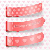 Attach valentine ribbons. — Stock Vector