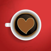 Valentines heart in coffee cup. — Stock Vector