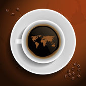 World map in coffee cup. — Stock Vector