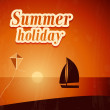 Summer background with yacht. — Stock Vector