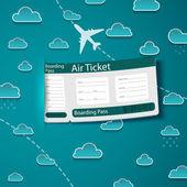 Biglietto aereo sullo sfondo del cielo. — Vettoriale Stock