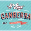 Vintage greeting card from Canberra - Australia. — Stock Vector