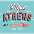 Vintage greeting card from Athens - Greece. — Stock Vector