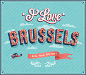 Vintage greeting card from Brussels - Belgium. — Stock Vector