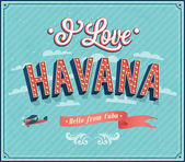 Vintage greeting card from Havana - Cuba. — Stock Vector
