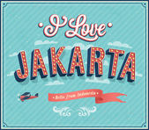 Vintage greeting card from Jakarta - Indonesia. — Stock Vector