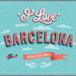 Vintage greeting card from Barcelona - Spain. — Stock Vector