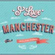 Vintage greeting card from Manchester - England. Vector illustration. — Stock Vector #33148437