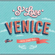 Vintage greeting card from Venice - Italy. — Stock Vector