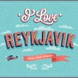 Vintage greeting card from Reykjavik - Iceland. — Stock Vector