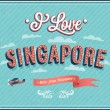 Stock Vector: Vintage greeting card from Singapore - Singapore.