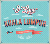 Vintage greeting card from Kuala Lumpur - Malaysia. — Vector de stock