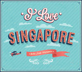 Vintage greeting card from Singapore - Singapore. — Stock Vector