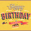 Happy birthday typographic design. — Stock Vector #36161073