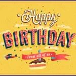 Happy birthday typographic design. — Stockvector