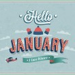Hello january typographic design. — Stock Vector