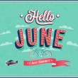 Hello june typographic design. — Stock Vector