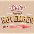 Stock Vector: Hello november typographic design.