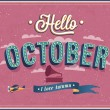 Stock Vector: Hello october typographic design.