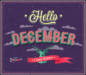 Hello december typographic design. — Stock Vector