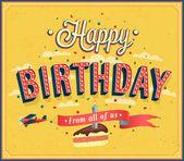Happy birthday typographic design. — Stock Vector