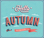 Hello autumn typographic design. — Stock Vector