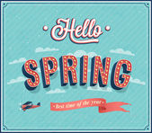 Hello spring typographic design. — Stock Vector
