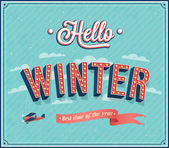 Hello winter typographic design. — Stock Vector