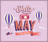 Hello may typographic design. — Stock Vector