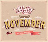Hello november typographic design. — Stock Vector