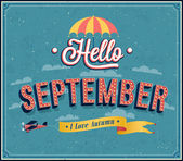 Hello september typographic design. — Stock Vector
