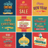 Set of Christmas and New Year vintage typographic emblems. — Stock Vector