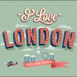 Vintage greeting card from London - England. — Stock Vector