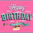 Happy birthday typographic design. — Stock Vector