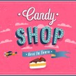 Candy shop typographic design. — Stock Vector