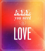 All you need is love typographic design. — Vector de stock